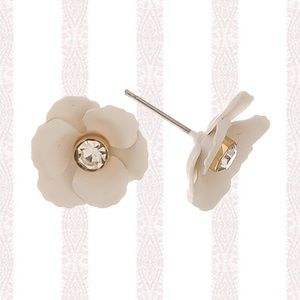FIORELLA Ivory Rhinestone Flower Stud Earrings